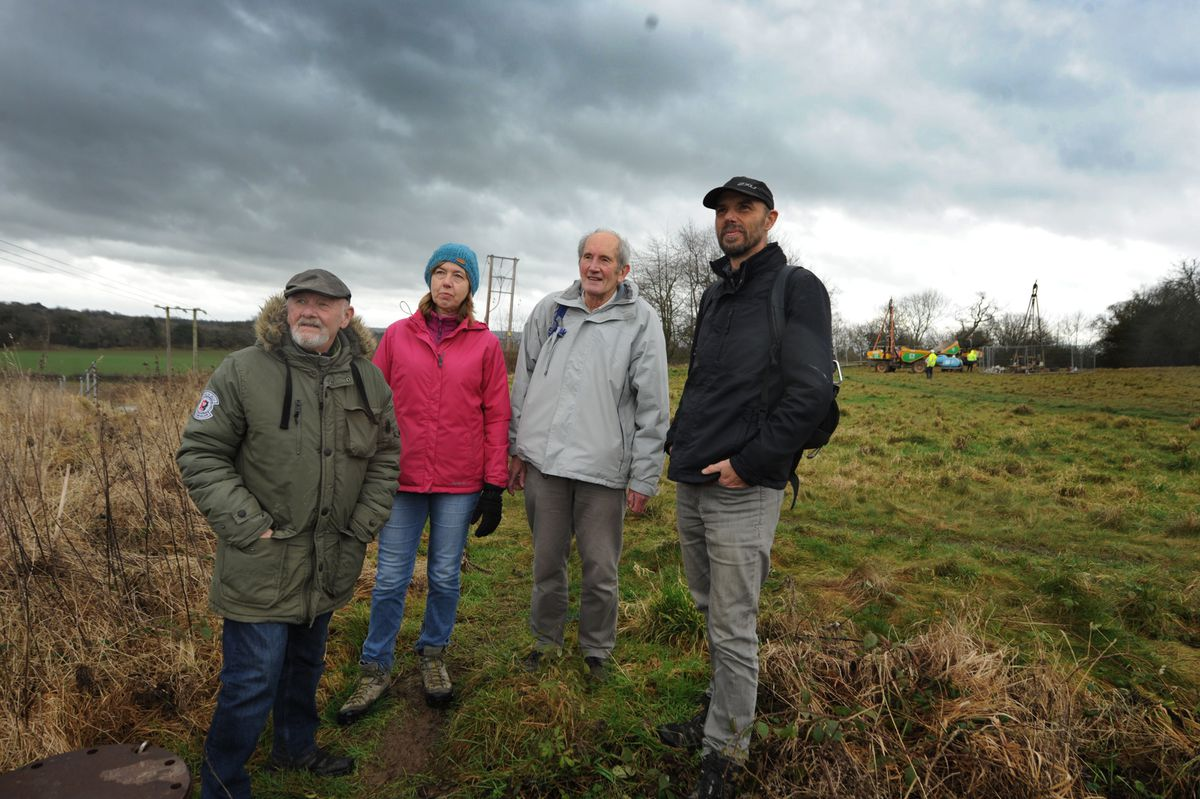 Tony Perdue, Jan Bevan, Frank Oldaker, and Robin Mager, voice their opposition to the North Western Relief Road at Shelton Rough, Shrewsbury