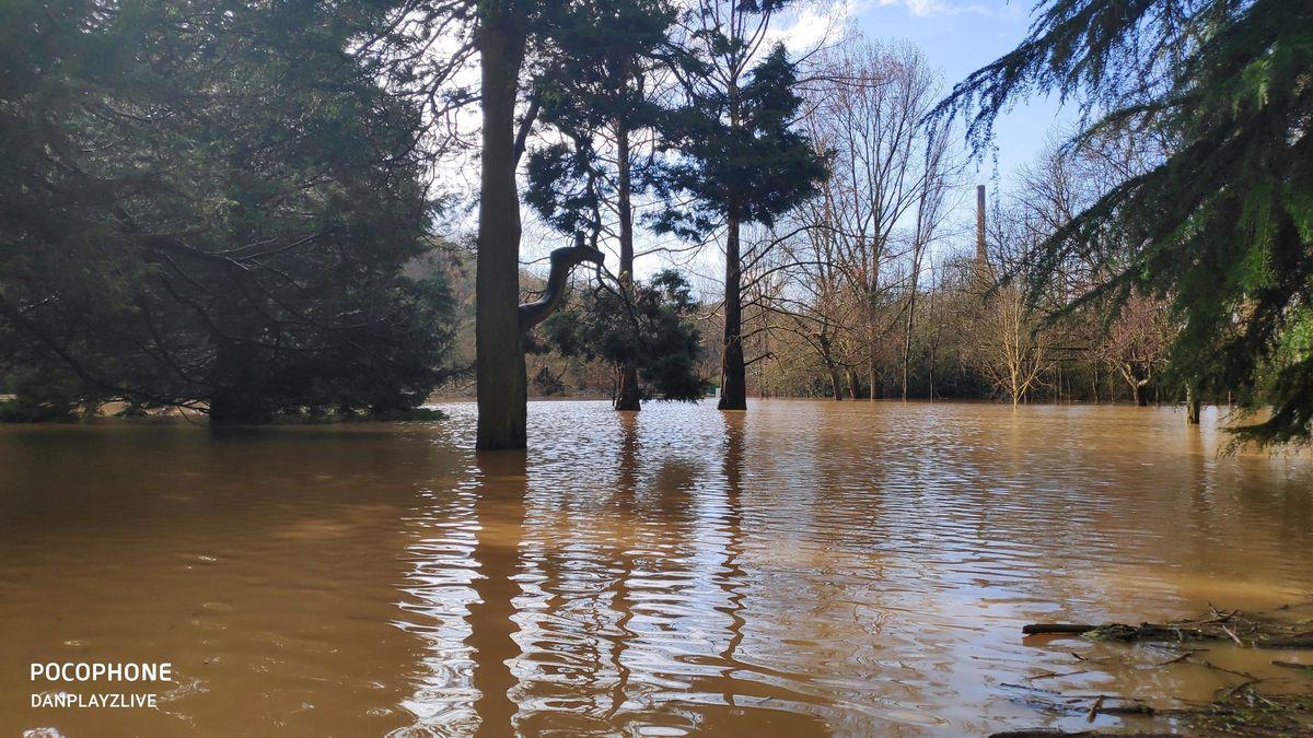Storm Dennis flooding at Dale End Park, Coalbrookdale. Photo: @DanPlayzLive