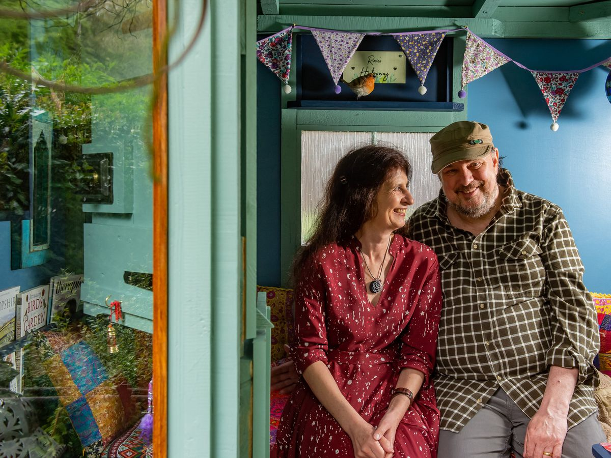 Rosemary and David Hoult, in their shed the Hideaway, in Ploxgreen, Shropshire