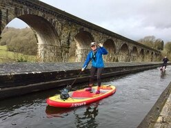 Only the brave: Paddleboarders tackle 70ft Chirk Aqueduct