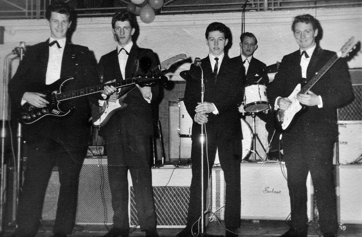 The Deltas on stage at the Music Hall on December 14, 1962. From left: Tony Wiseman, Roger Francis, Bernard Lewis, drummer Bob Partridge, right, Barry Udy on lead guitar. Note the drum kit in the background extreme right which was the drum kit of Ringo Starr  – it was such early days that the kit has Ringo's name on it rather than that of The Beatles.