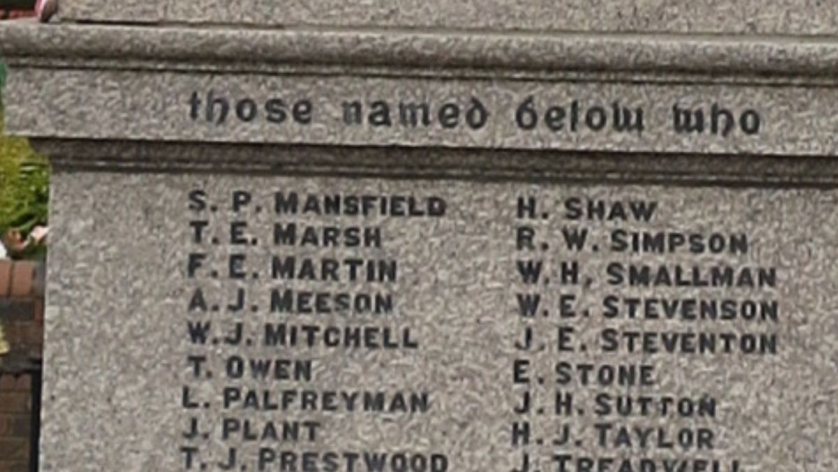 The fallen soldier's sacrifice is recorded on Cannock war memorial.