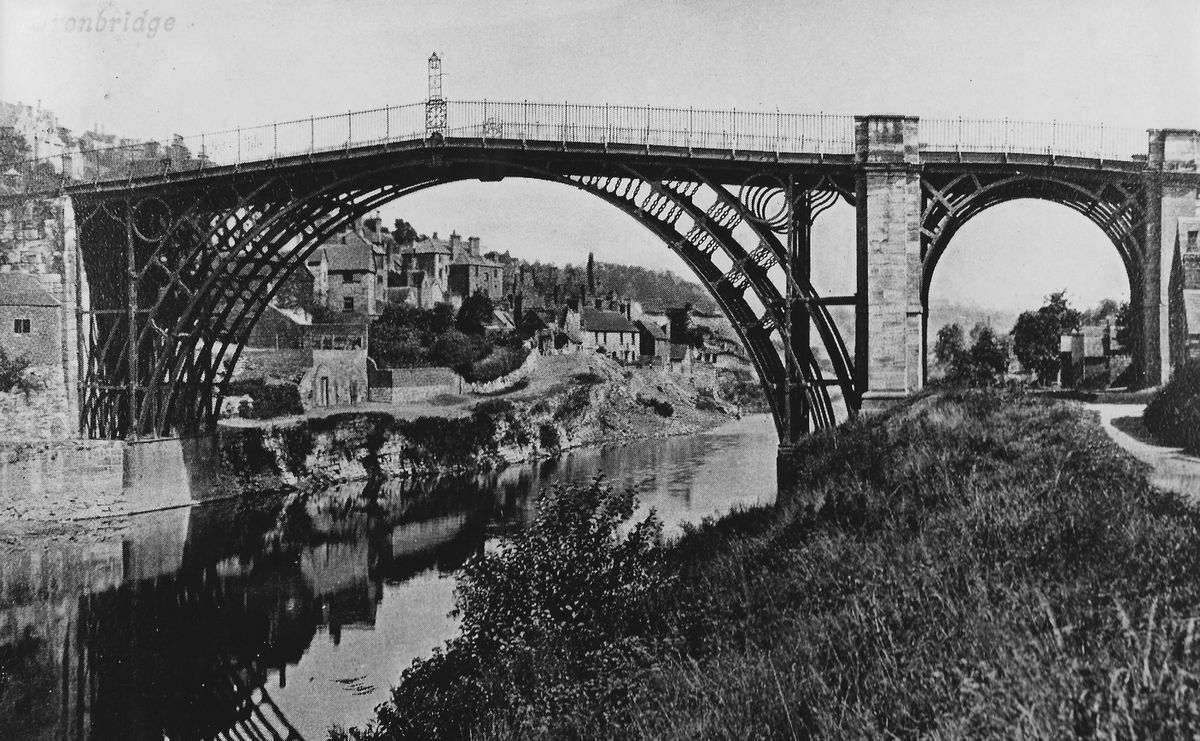 The Iron Bridge topped by its long-disappeared gas lamp.