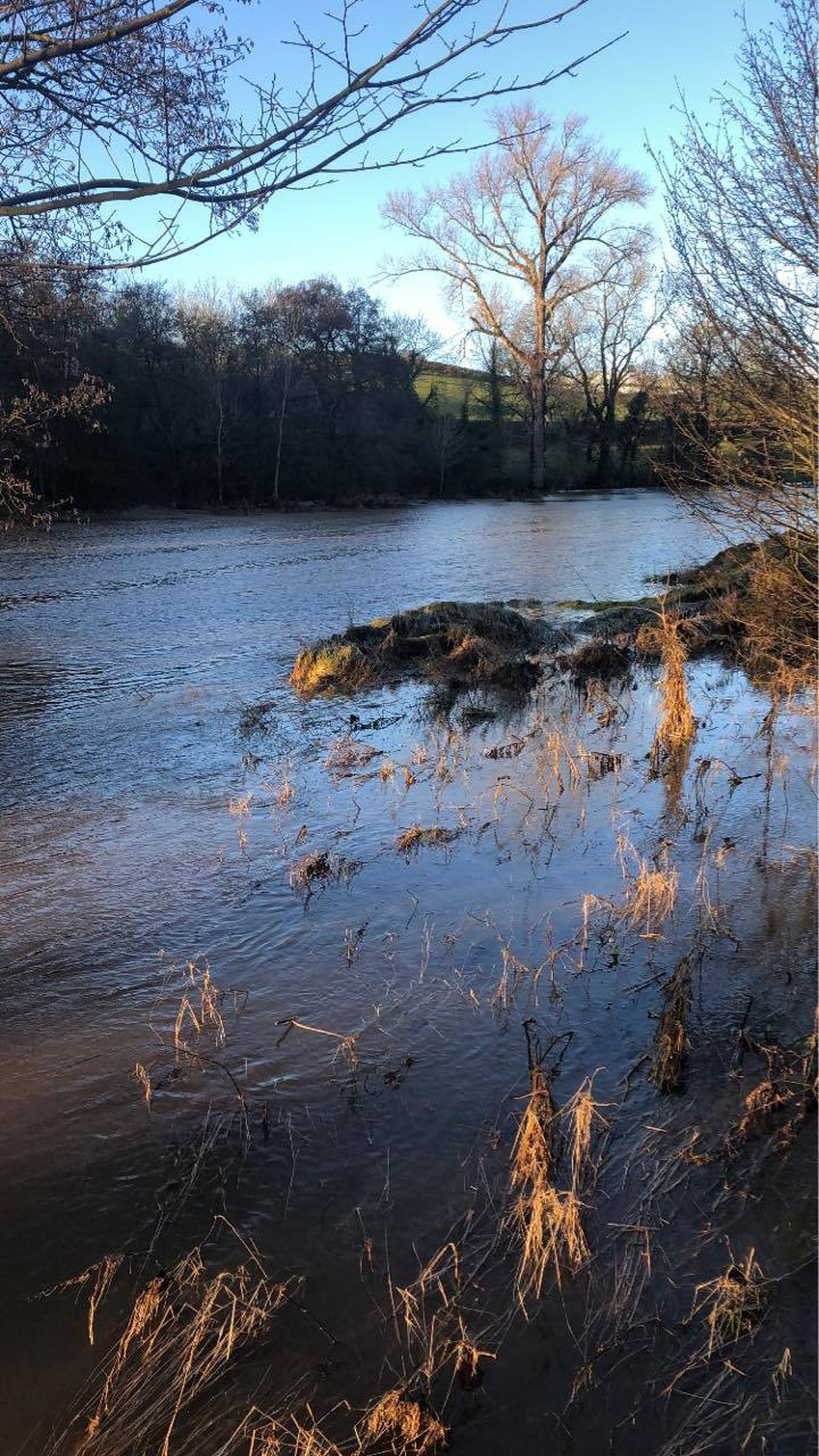 Flooding in Clun as the River Clun burst its banks. Photo by Jack Limond