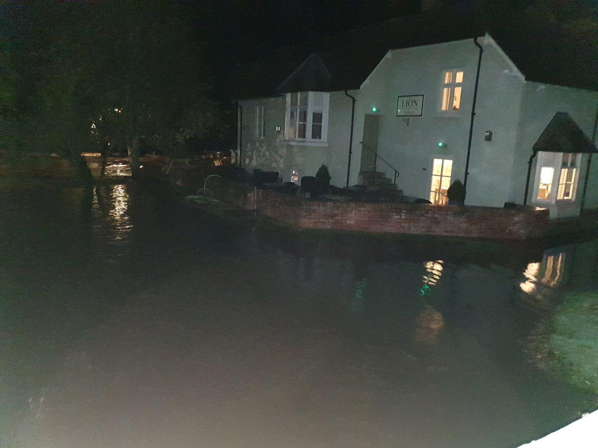 The flooding in Leintwardine at around 10pm last night. Pic: @StormChaseUK