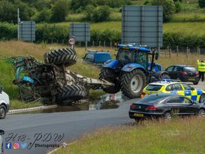 The overturned slurry tanker. Photo: H18PDW Photography