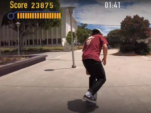 A screengrab from a YouTube video imitating a Tony Hawk video game