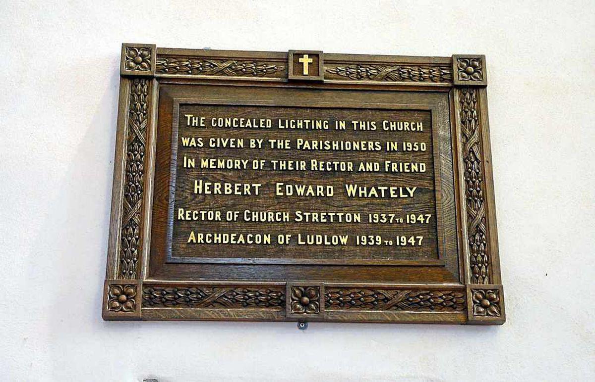 A plaque dedicated to generous parishioners