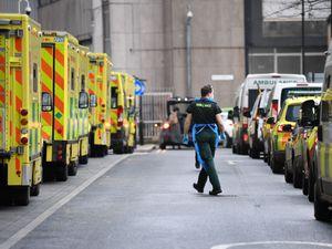 Ambulances at Whitechapel hospital in London (Stefan Rousseau/PA)
