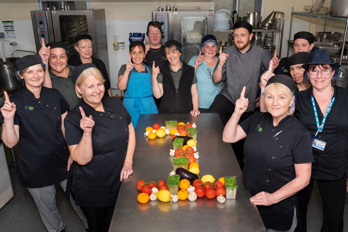 The hospital's catering team pictured before the pandemic in 2019