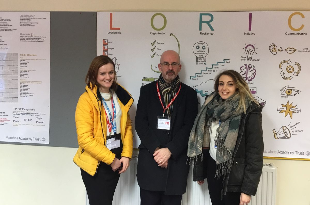 Sian Langford, Allen Edwards and Eleanor Sansom at Marches School after a classroom-based session about apprenticeships