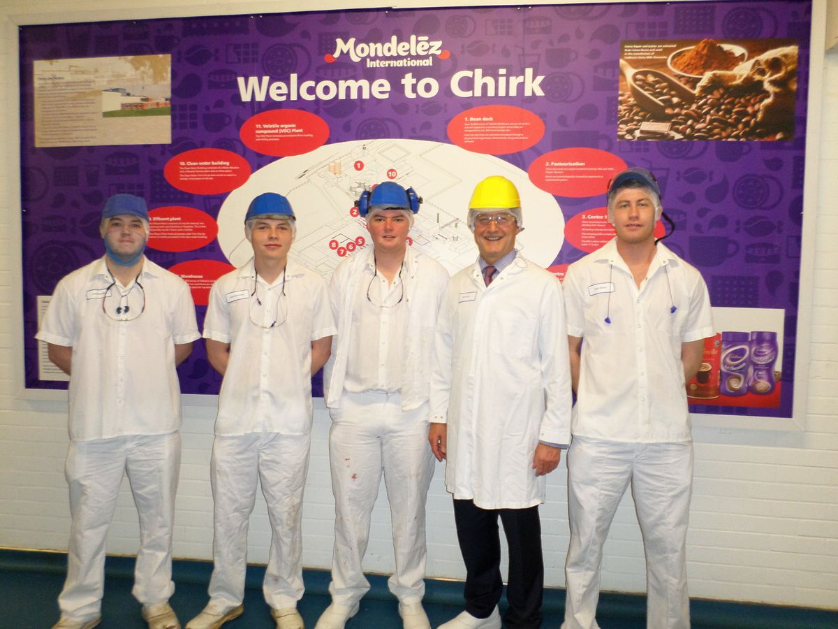 North Shropshire MP Owen Paterson on a visit to the Mondelez factory in Chirk