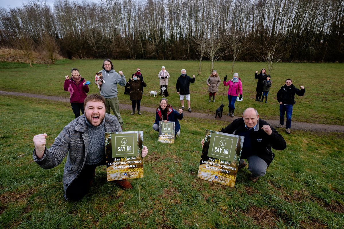 Campaigners celebrating the temporary tree preservation back in February 2021 on woodland in Market Drayton