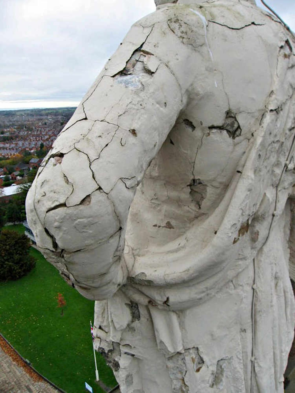 Landmark under threat – the crumbling 198-year-old statue of Lord Hill which is earmarked for repair after taking the brunt of several harsh winters