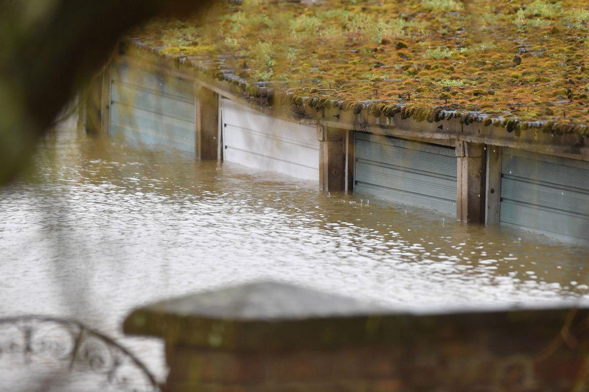 Submerged garages on Gravel Hill Lane, Shrewsbury