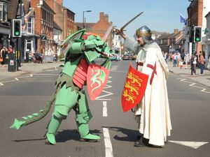 LAST PIC DAVID HAMILTON PIC SHROPSHIRE STAR PIC 20/4/2019 WITH VIDEO In the role of St George, during the St George's Day celebrations, at Newport, Daniel Ashley, of Newport..