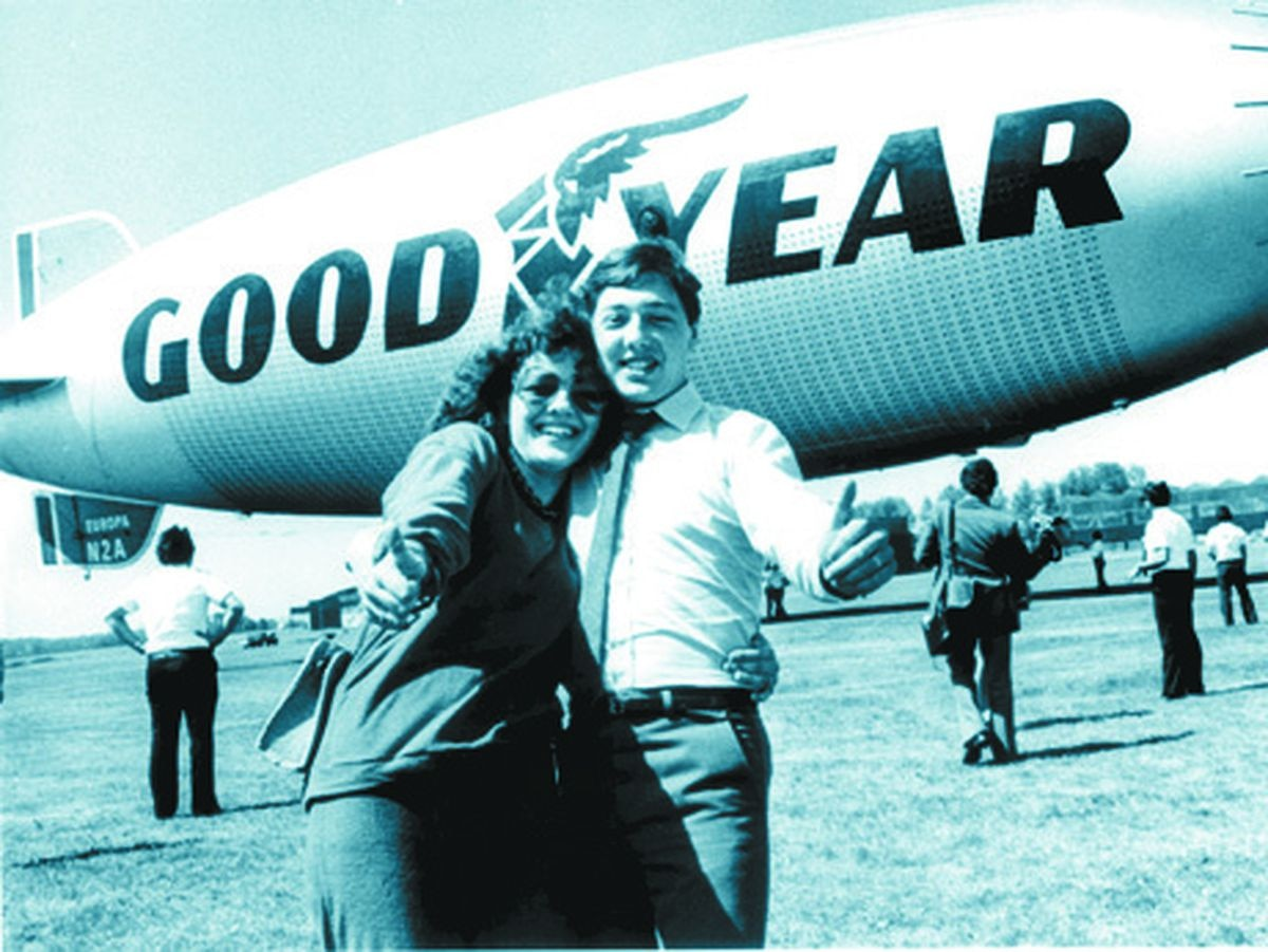 Julie and Steve Harris won a flight on the Goodyear airship Europa at the annual Wolverhampton press ball