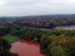 Pictures: Drone images show Telford fields covered in brown water after burst pipe