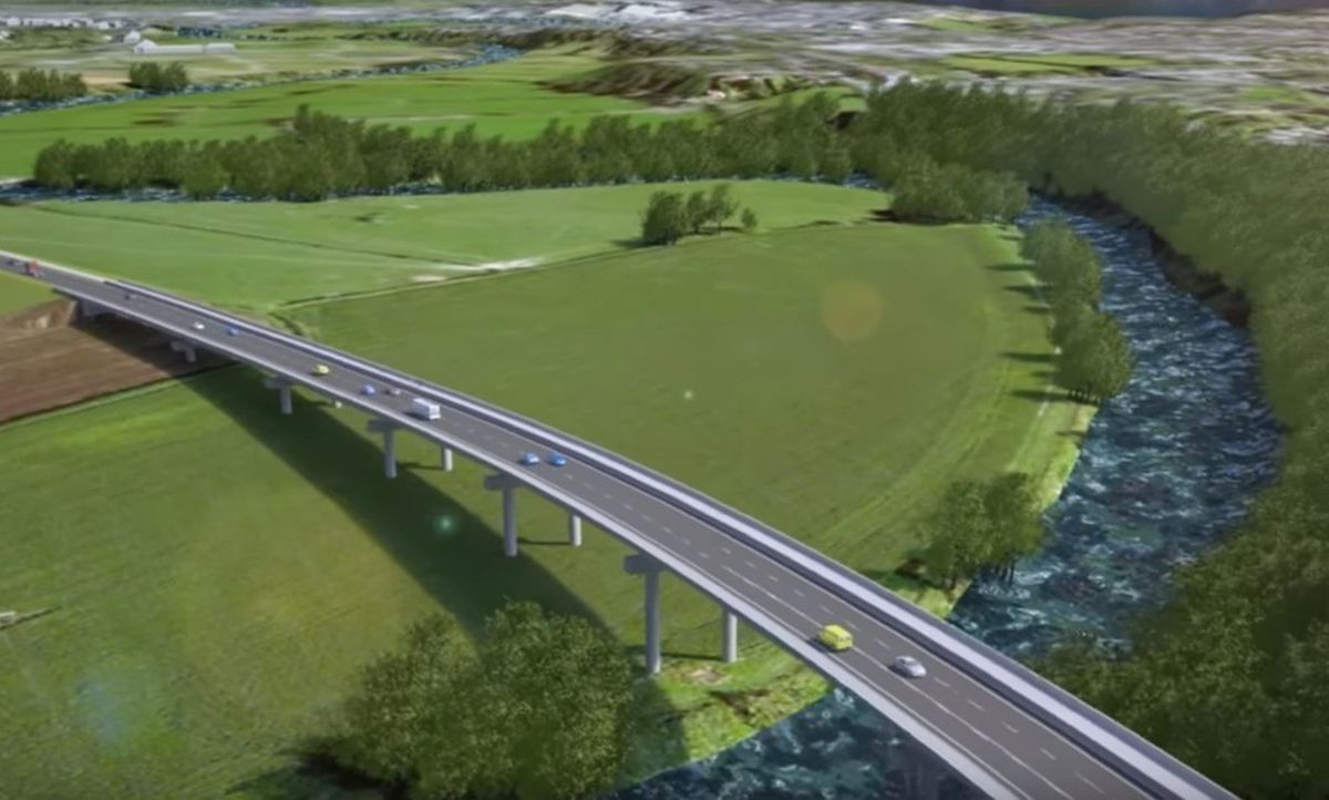 An artist's impression of the relief road from a fly-through video