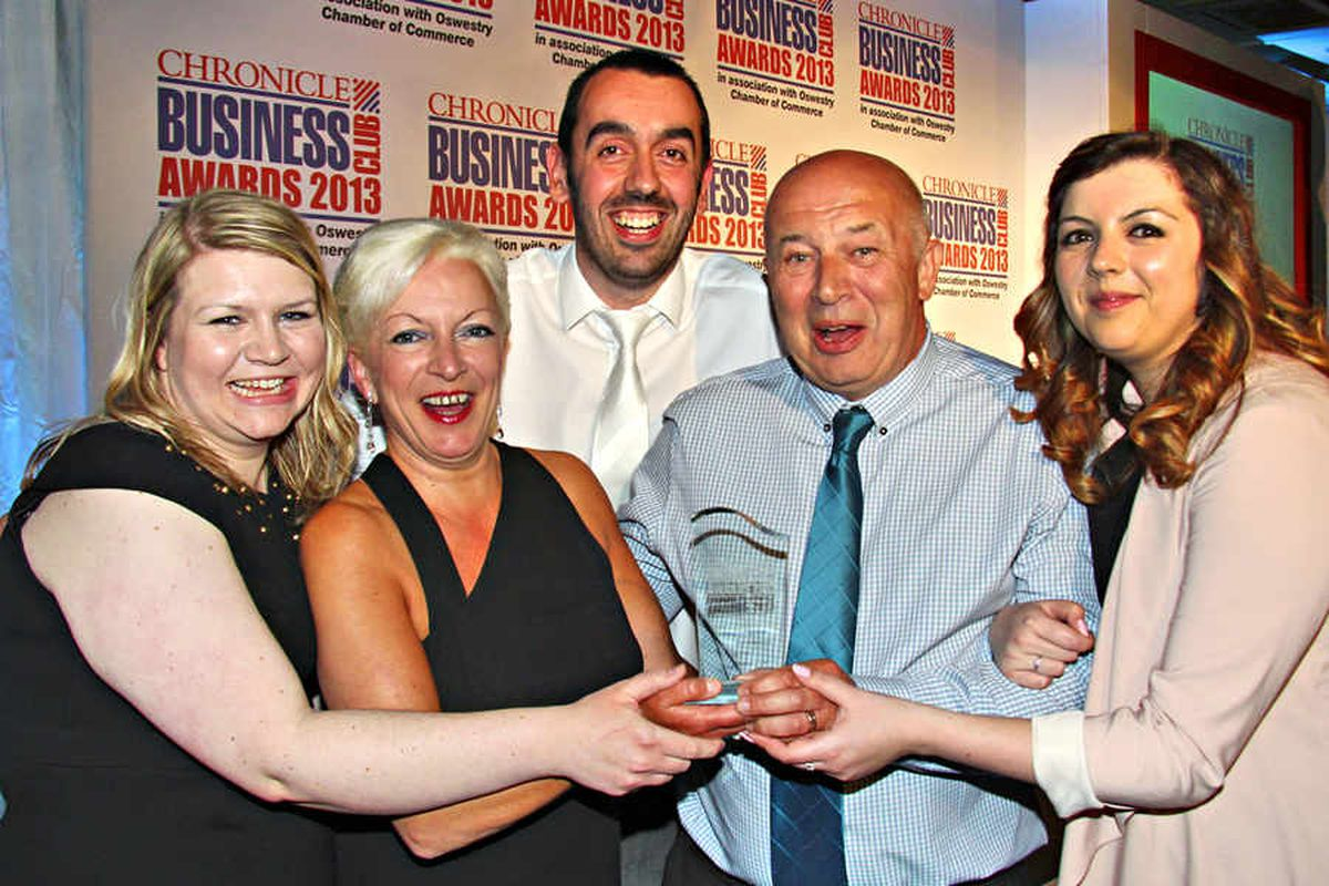 The Gift Experience, was named Business of the Year. Celebrating the achievement are, from left Katy Yates, Jenny Pervin, Steve Yates, Trevor Pervin, Holly Liversage
