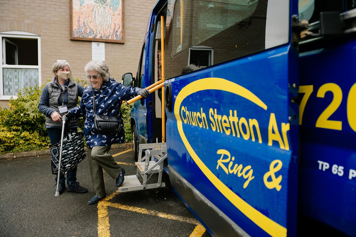 All Stretton resident Pam Rothery arrives by the transport services at Mayfair Community Centre