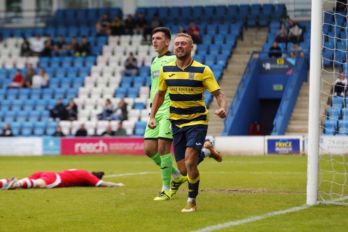 Tom Hill of Shifnal Town celebrates after scoring a goal to make it 4-0 Pic: James Baylis
