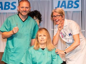 The cast of JABS, from left, Paul Wilkinson, Christina Cubbin and Sally Tonge. Pic: Mike Ashton