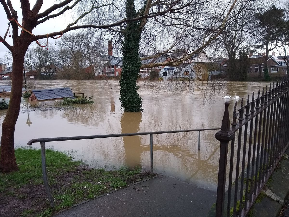 Flooding on the River Severn in Shrewsbury yesterday afternoon
