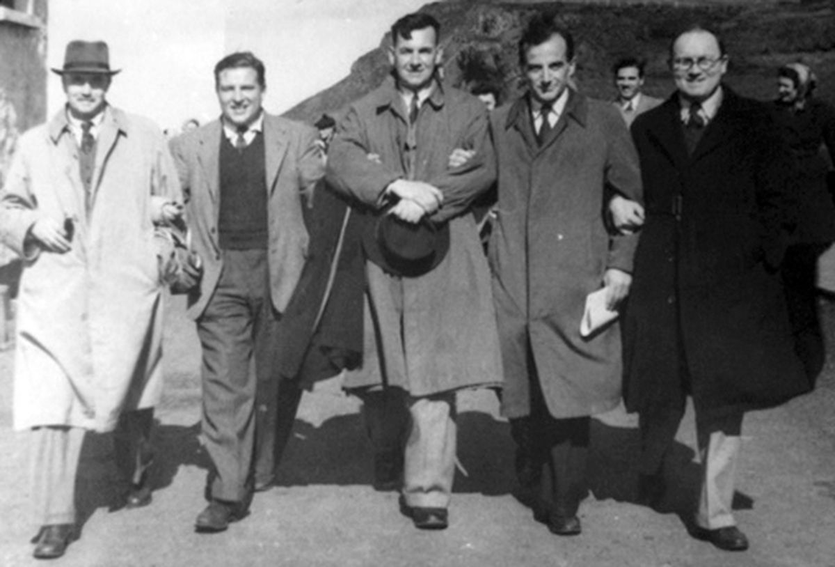 "Jim Gwyther, centre, on a ""Buffs"" tour to the Giant's Causeway in 1948."