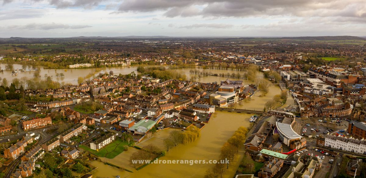 Flooding in Shrewsbury after Storm Dennis. Photo: Shropshire Council and the Drone Rangers
