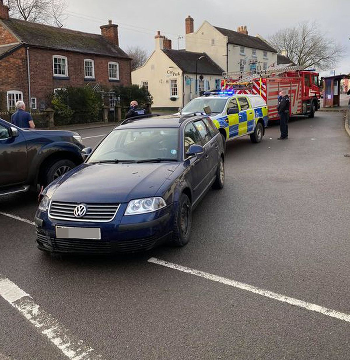 A blue Volkswagen was abandoned alongside the A49 in Dorrington following the crash