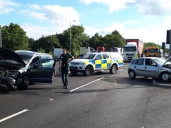 Cars crash at A483 junction as it reopens after five months of safety work