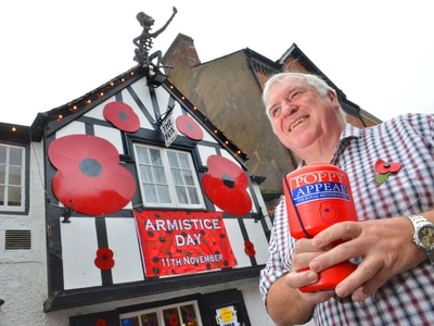 Lest we forget: Poppies adorn Oswestry pub