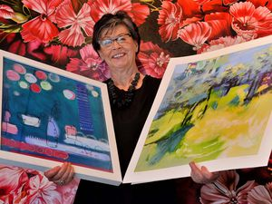 Jan Park, artist and vice chair of the Secret Severn Art Trail, with some of the work on display as part of the extended event.