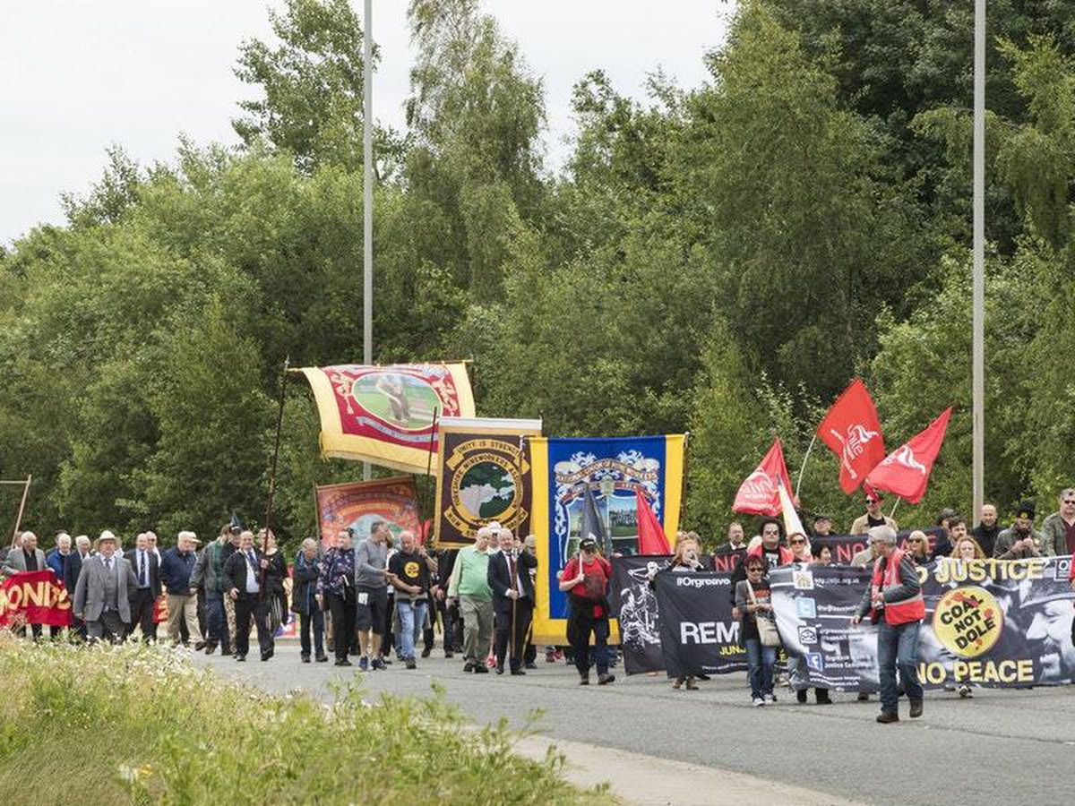 Demonstrators on the Annual Orgreave Rally in Sheffield