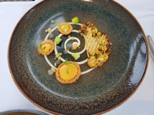 The elegantly presented cauliflower dish