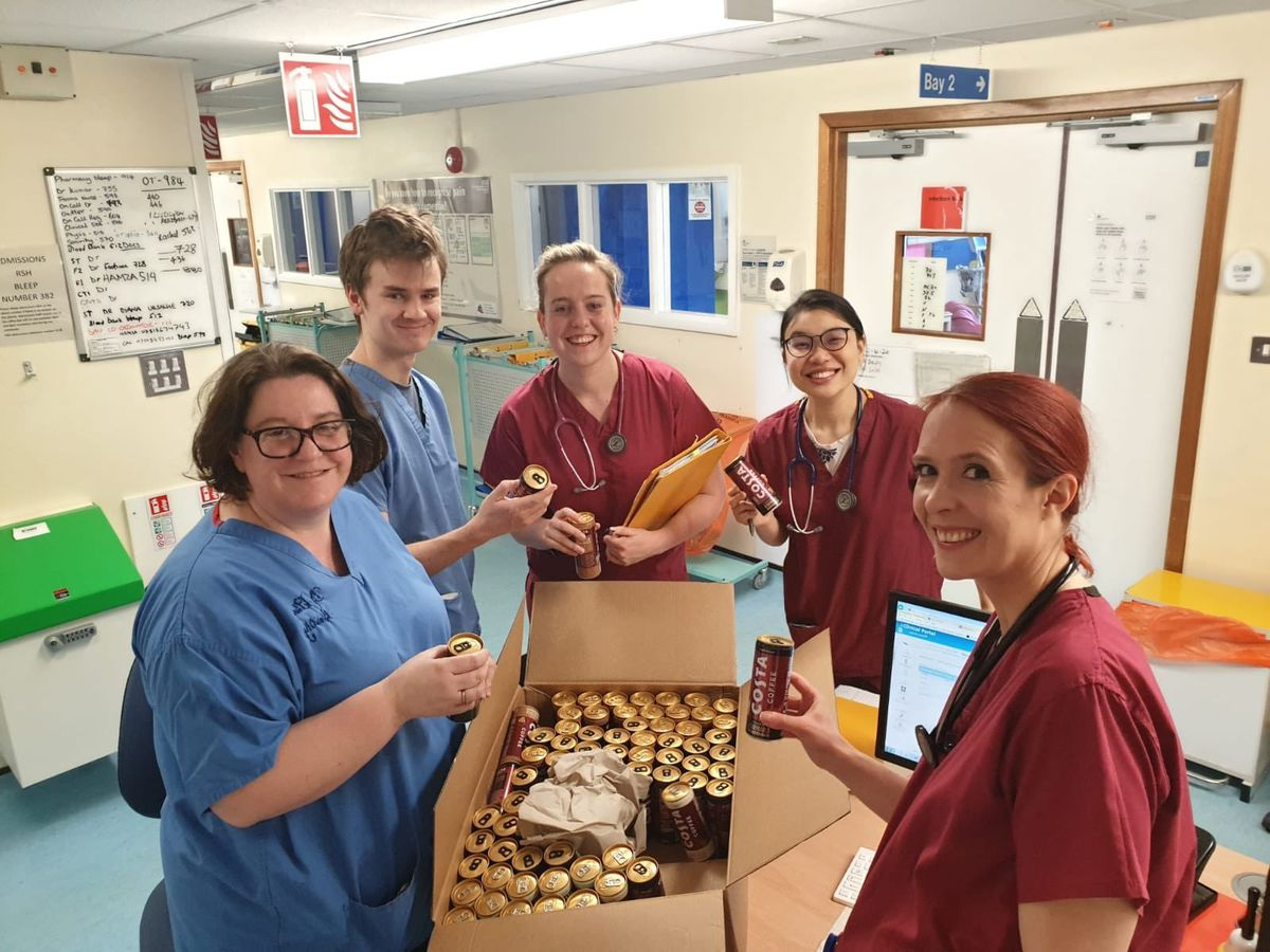 The Ward 22 team at Princess Royal Hospital with the donated coffee