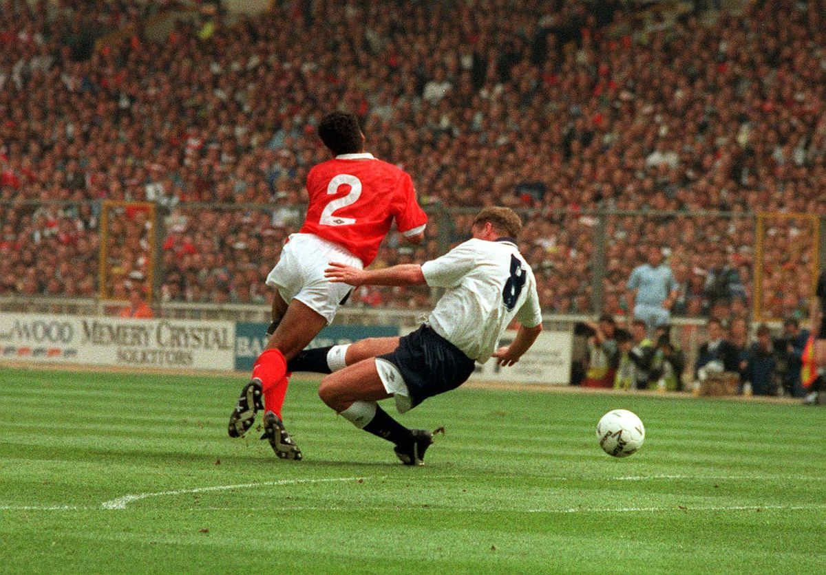 Tottenham Hotspur's Paul Gascoigne injuring his knee during a heavy tackle on Nottingham Forest's Gary Charles