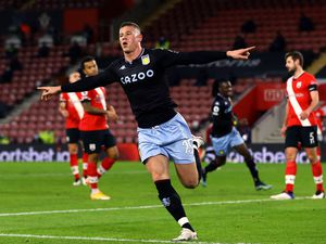 """Aston Villa's Ross Barkley celebrates scoring their side's first goal of the game during the Premier League match at St Mary's Stadium, Southampton. Picture date: Saturday January 30, 2021. PA Photo. See PA story SOCCER Southampton. Photo credit should read: Gareth Fuller/PA Wire. RESTRICTIONS: EDITORIAL USE ONLY No use with unauthorised audio, video, data, fixture lists, club/league logos or """"live"""" services. Online in-match use limited to 120 images, no video emulation. No use in betting, games or single club/league/player publications."""