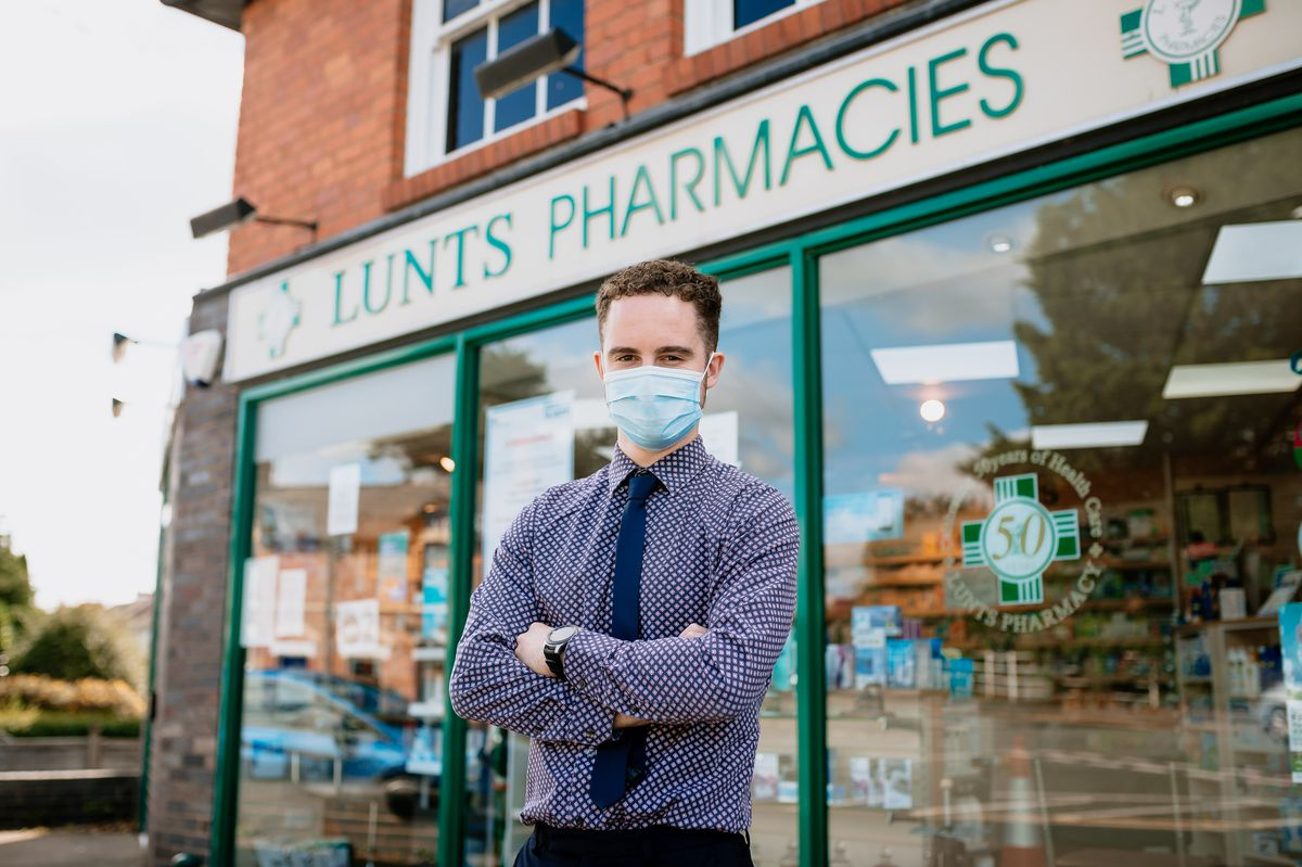 Manager Connor Hunt at the Lunts Pharmacy branch in Hereford Road, Shrewsbury