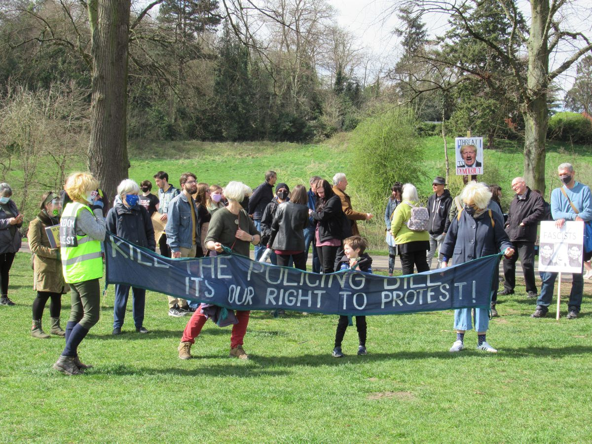 The 'Kill the Bill' protest in Shrewsbury's Quarry. Photo: Hermione Byron Low.