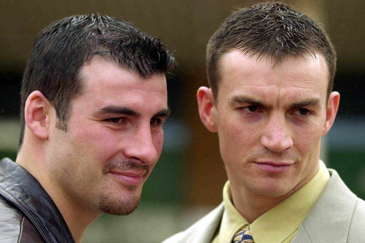 Richie Woodhall (left) and Joe Calzaghe meet ahead of their world title fight back in 2000.
