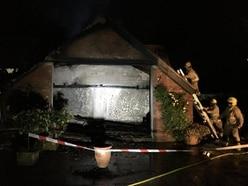 Dozens of firefighters tackle garage blaze near Bridgnorth