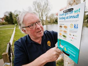 LAST COPYRIGHT SHROPSHIRE STAR JAMIE RICKETTS 01/04/2021 - Breaducataion signs have been put up around Newport Canal. In Picture: Mayor Peter Scott..