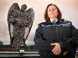 Police chief makes her mark on visit to Shropshire Knife Angel