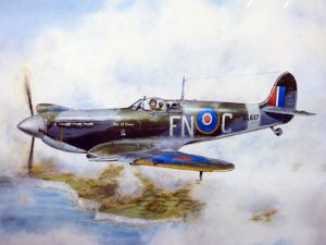 A painting by artist Charles O'Neill depicting the Star of Stone, a Spitfire fighter which was bought by the people of Stone.