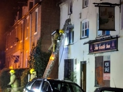 Firefighters tackle blaze at derelict Shrewsbury pub - with pictures