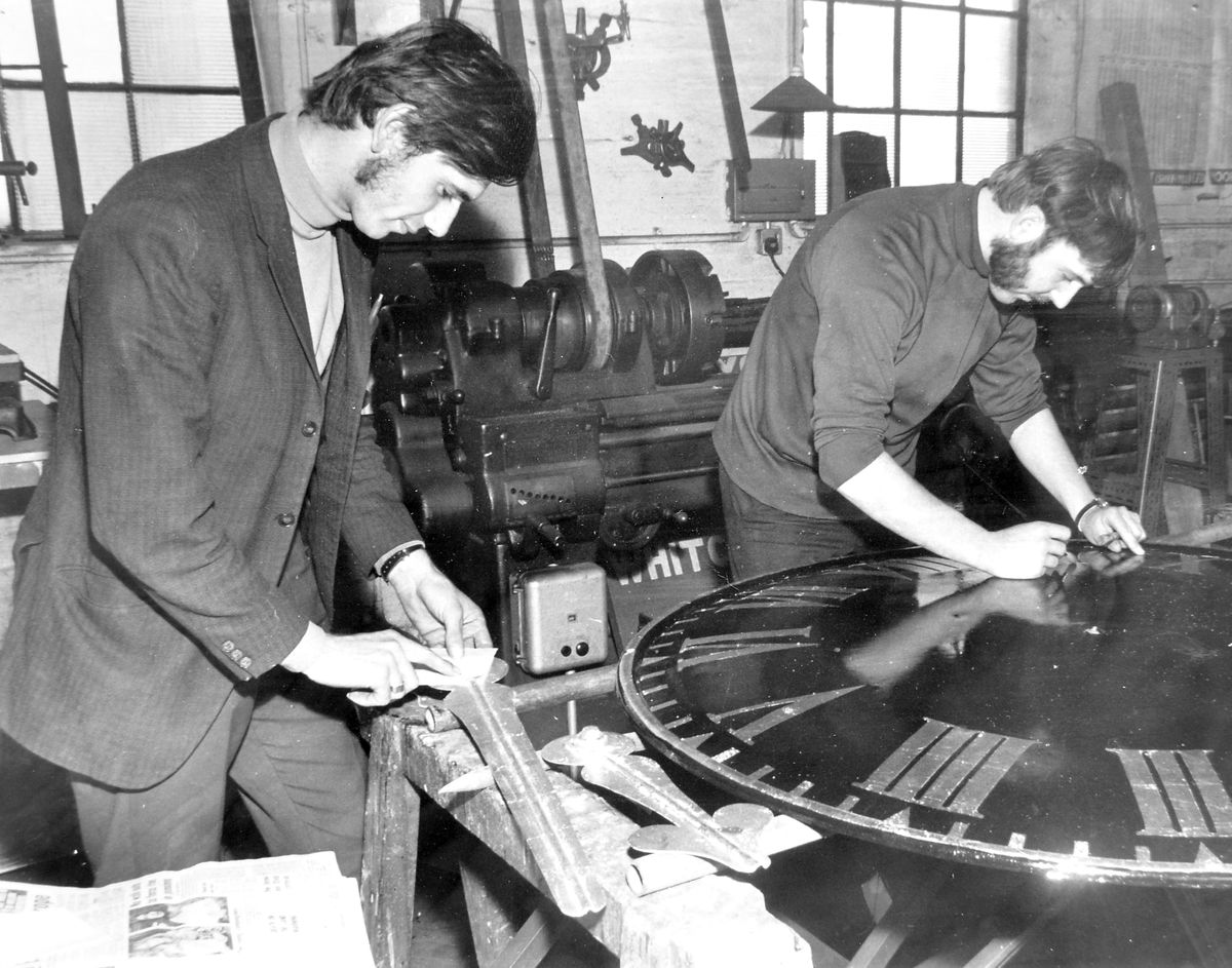 These two unidentified workmen were busy on October 22, 1971, restoring the face and fingers of a tower clock at the famous Whitchurch clock firm of J B Joyce and Co in Station Road. By this time the firm was part of the John Smith and Sons combine of Derby, and in 2012 the town said goodbye to Joyce when operations were centralised at Derby.