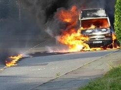 Blaze destroys van near Shrewsbury - with pictures