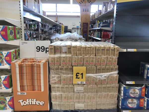 Aisles of products sealed off in Tesco in Welshpool.